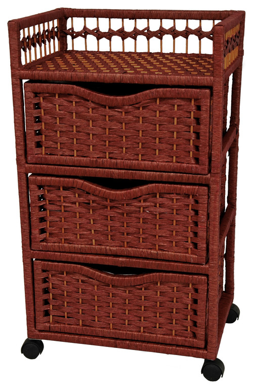 31 Natural Fiber Chest of Drawers on Wheels, Mahogany