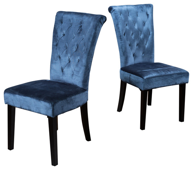 Blue Fabric Dining Chairs fordash contemporary blue tufted fabric dining chairs, set of 2