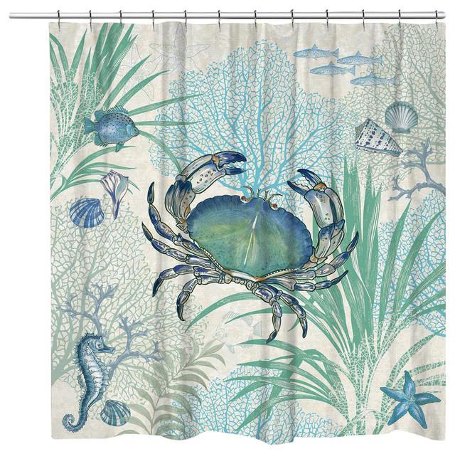 Laural Home Blue Crab Shower Curtain, 71