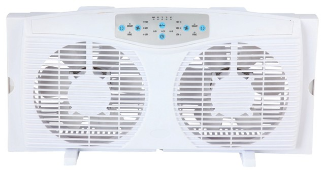 Optimus 8 Reversible Twin Window Fan With Thermostat.