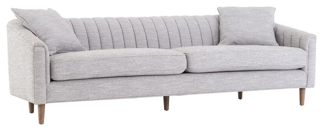 Eve Mid Century Modern Classic Gray Channel Back Sofa.