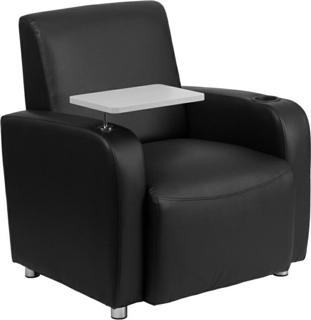 Perfect Black Leather Guest Chair With Tablet Arm, Chrome Legs And Cup Holder  Contemporary Armchairs