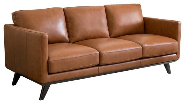 Abbyson Living Altamont Mid Century Top Grain Leather Sofa