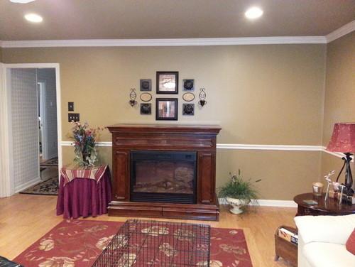 Need help decorating around my freestanding fireplace/lift TV cabinet