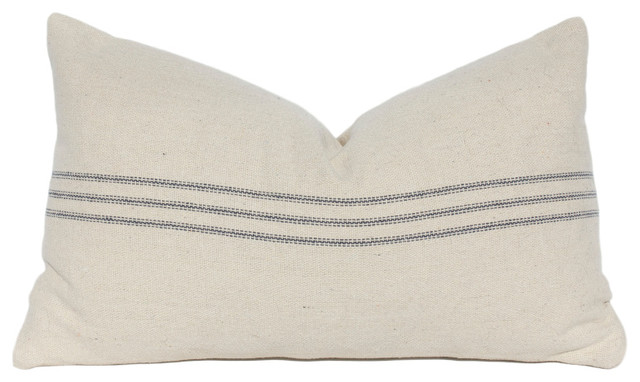 French Country Blue Striped Lumbar Linen Pillow Cover Horizontal Stripes