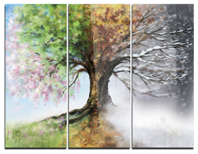 Tree With Four Seasons Painting Metal Wall Art 3 Panels 36