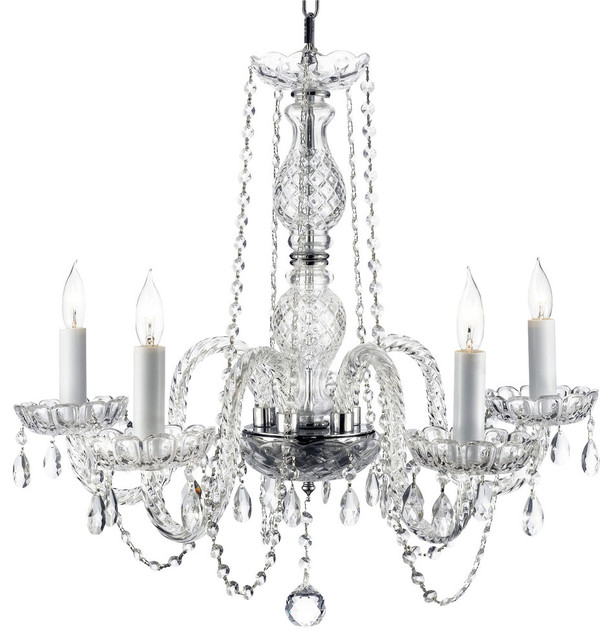Yvette Crystal Chandelier: Authentic All Crystal Chandelier 5-Light