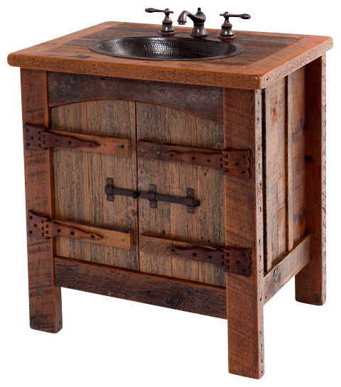 Woodland creek furniture reclaimed vanity with hammered for Recycled bathroom sinks