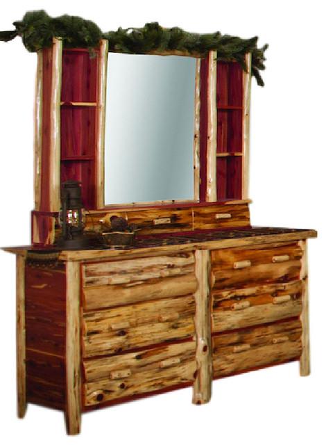Rustic Red Cedar Log Dresser Hutch With Mirror Rustic
