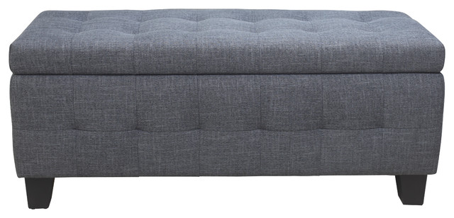 Genial Gretchen Storage Bench Gray Fabric