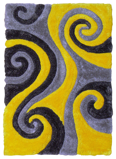 3d Shaggy Abstract Swirl Design Yellow Color Area Rug 5 X7
