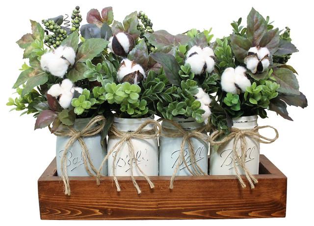 Boxwood And Cotton Boll Farmhouse Pint Mason Jar Floral Arrangement