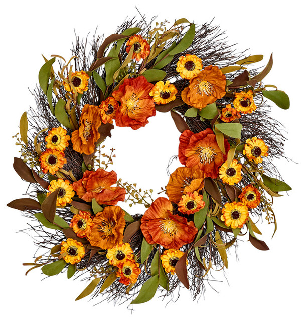 """Fall Flower Wreath On Natural Twig Base, 22""""."""
