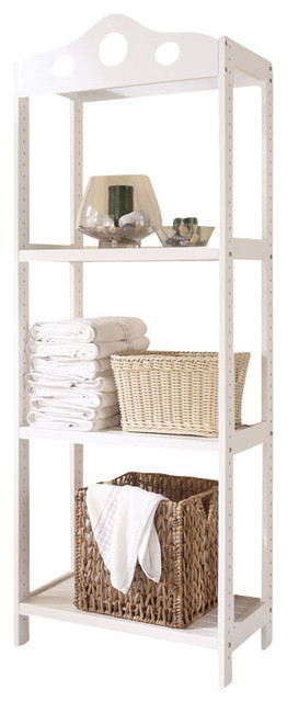 Free Standing White Wooden 3 Tier Bathroom Storage Shelf
