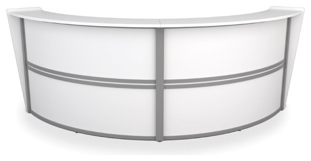 OFM Marque Series Double Unit Curved Reception Desk in White