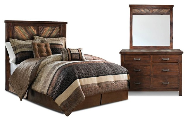 bedroom set distressed walnut finish contemporary bedroom furniture