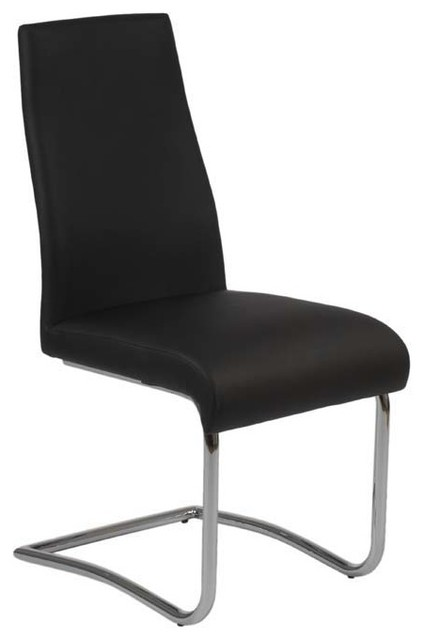 Eurostyle rooney low back side chair in black leatherette for Modern low back dining chairs