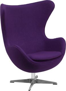 """Vela"" Retro Lounge Chairs, Purple Wool"