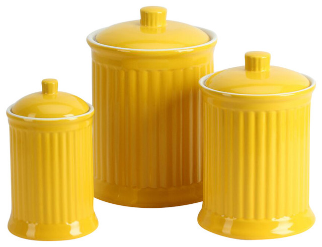 Simsbury Canisters, Yellow, Set Of 3.