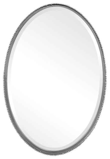 Classic Oval Beaded Edge Wall Mirror, Oval Silver Beaded Mirror