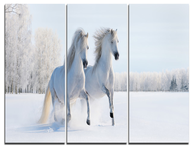 Two Galloping White Ponies Photo Canvas Print, 3 Panels, 36x28 by DesignArt