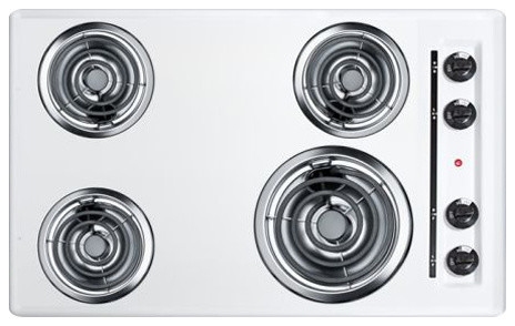 30 Wide 220v Electric Cooktop, White Porcelain Finish.