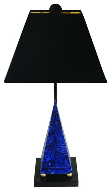 Elegant Lapis Pyramid Blue Granite Table Lamp, Modern Black Shade.