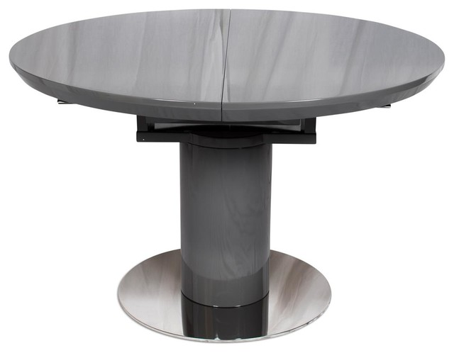 Romeo Round Extending Dining Table, Grey High Gloss