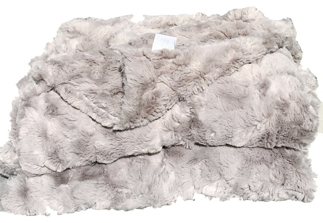 Cozy Faux Fur Throw Gray Contemporary Throws By Cozy Faux