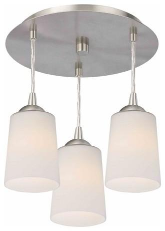 3-Light Semi-Flush Light With Satin White Glass, Satin Nickel.