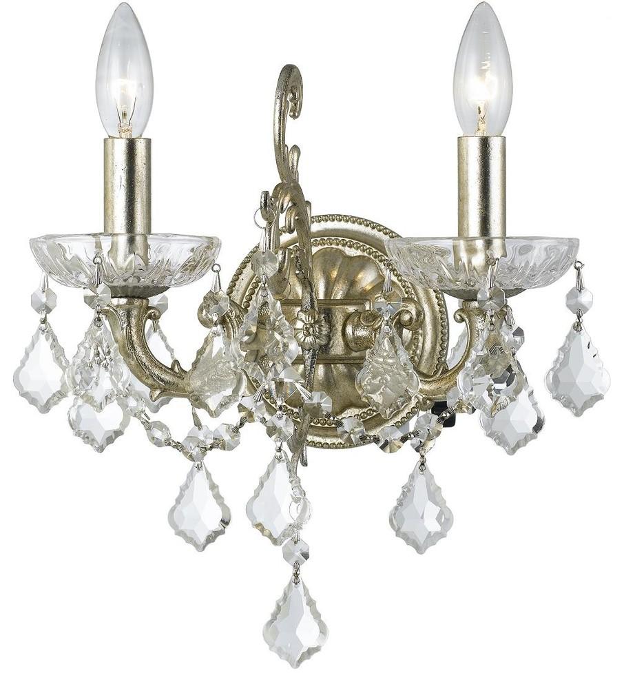 5011-OS-CL-MWP Crystorama Ashton 1 Light Hand Cut Crystal Silver Sconce