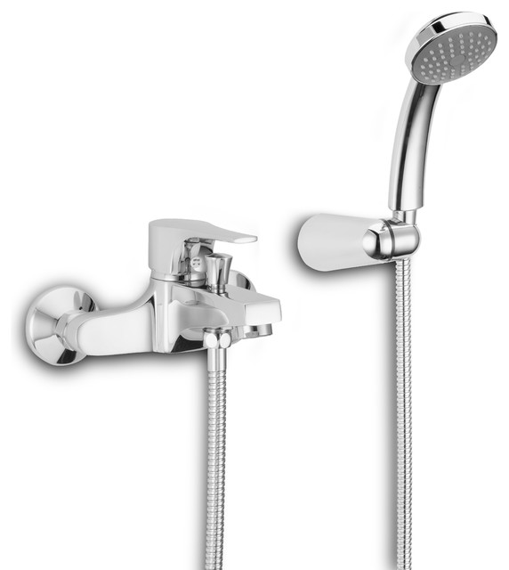 Domino Tub Filler With Hand Spray Contemporary Bathtub