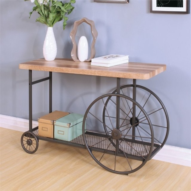 Acme Francie Console Table, Oak And Antique Gray.