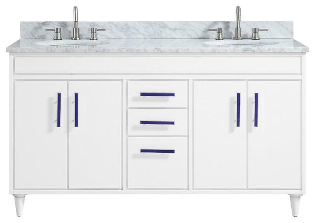 "Avanity Layla 61"" Vanity Combo, White With Carrara White Marble Top"