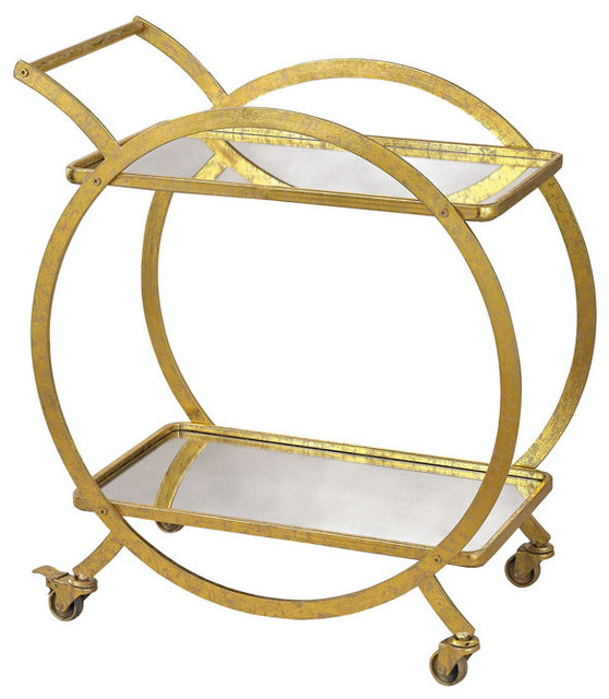 Sterling Signature Gold and Antique Mirror Cart by ELK Group International