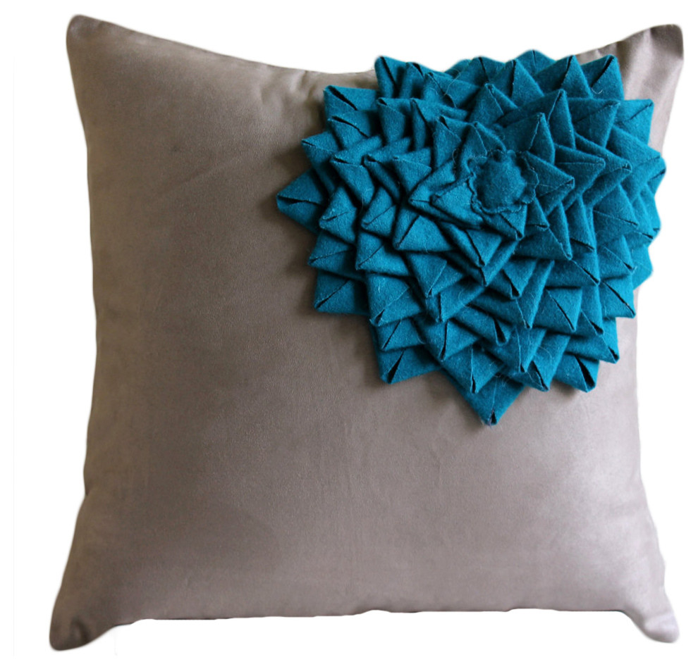 22 by 22-Inch Hudson Street Faux Suede Single Decorative Pillow Turquoise