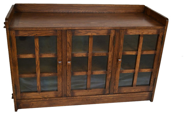 Mission Oak 3 Door Bookcase Craftsman Entertainment Centers And Tv