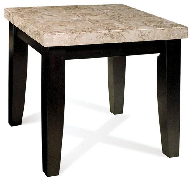 marble top end tables Monarch Marble Top End Table in Black Finish   Contemporary   Side  marble top end tables