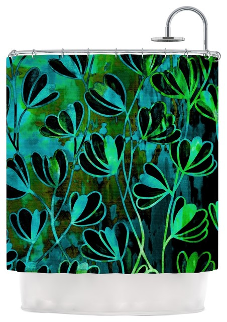 Ebi Emporium Efflorescence Lime Green Teal Black Shower Curtain