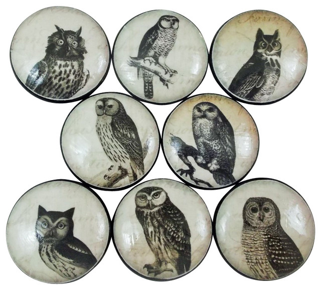 Black And White Owl Cabinet Knobs, 8-Piece Set.