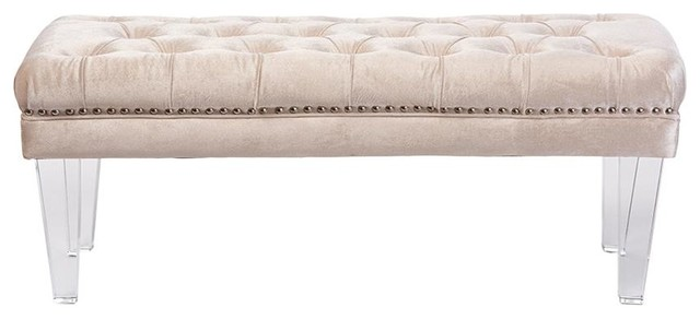Edna Rectangular Beige Microsuede Tufted Ottoman Bench With Acrylic Legs.
