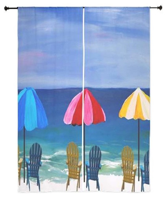 Mary gifts by the beach beach art sheer curtains beach for Painting sheer curtains