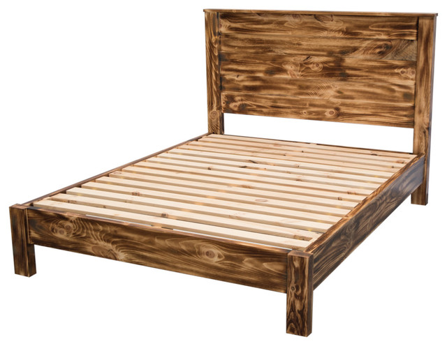 Torched Farmhouse Platform Bed With Headboard, Queen.
