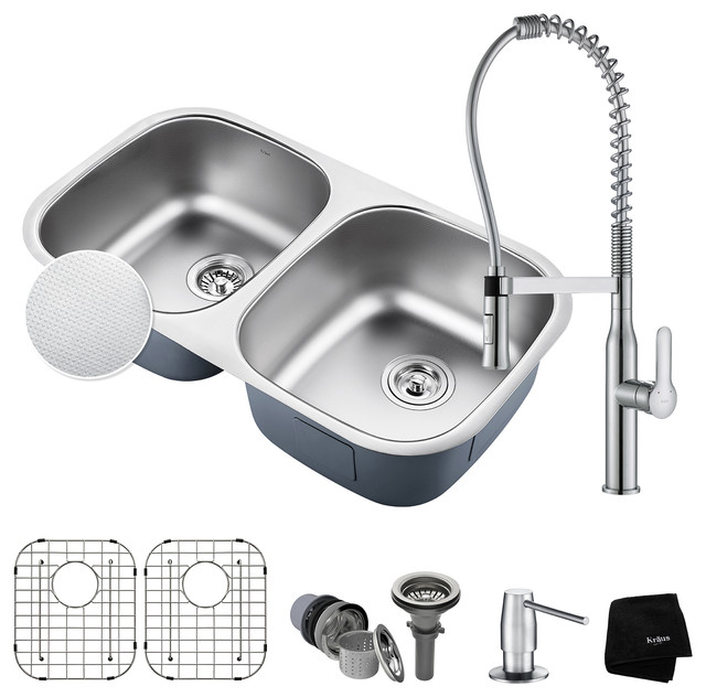 """Combo Microshield Undermount Stainless 32"""" Double Sink and Faucet With Dispenser"""