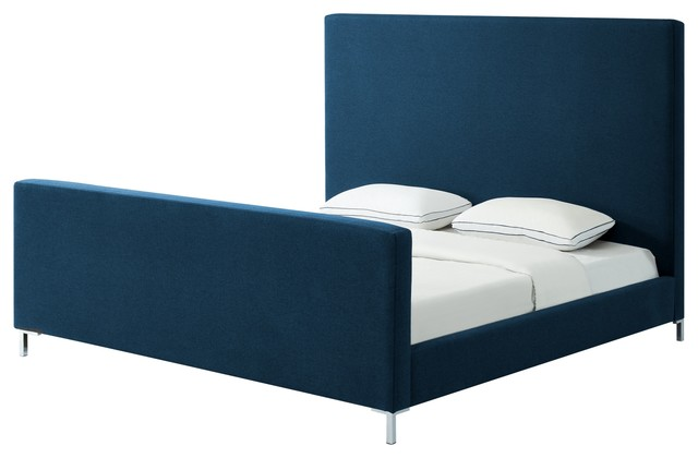Aberdeen Upholstered  Platform Bed, Denim Linen, King.