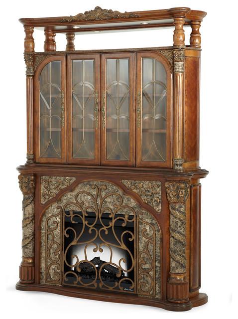 Aico Michael Amini Villa Valencia Electric Fireplace With Media Wall Victorian Indoor