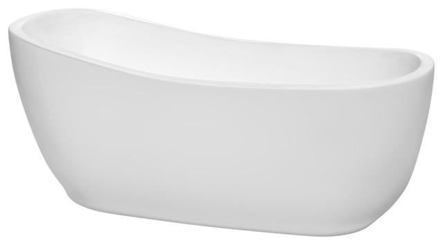 "Margaret 66"" White Soaking Bathtub, Brushed Nickel Drain And Overflow Trim."