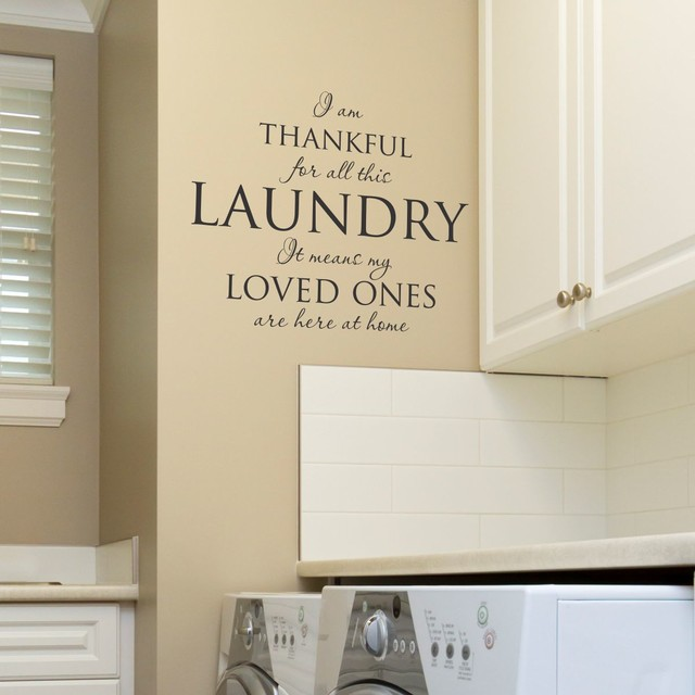 Thankful For The Laundry Wall Quotes Decal, Black