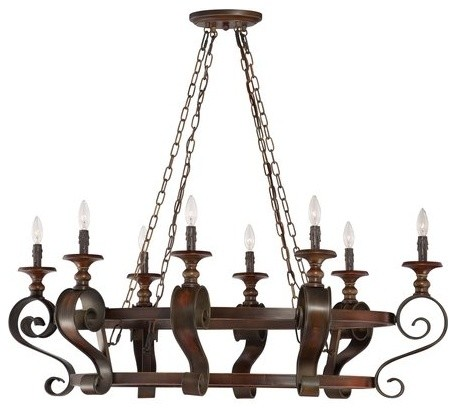 jeremiah seville spanish bronze casual pot rack with 8light 60w