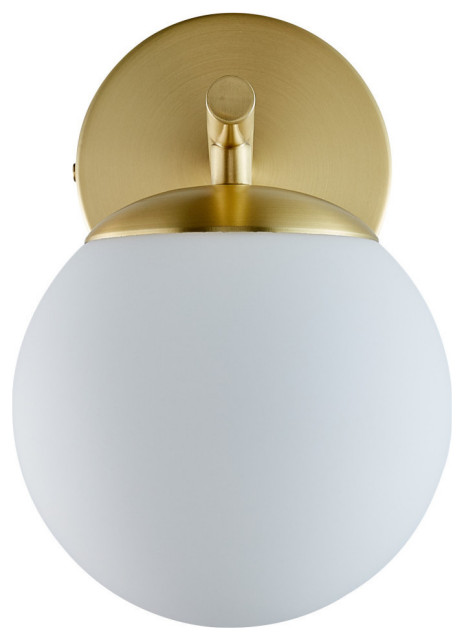 Aidan Single Sconce, Brushed Brass With Matte Frosted Glass